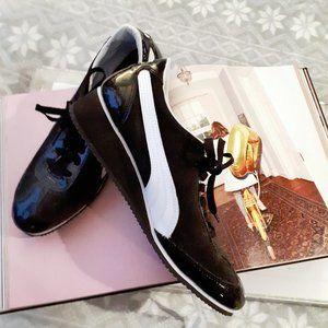 Puma black & white suede & patent sneakers, 11